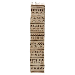 Moroccan Hand Knotted Brown and Tan Beni Ourain Wool Runner, circa 1940