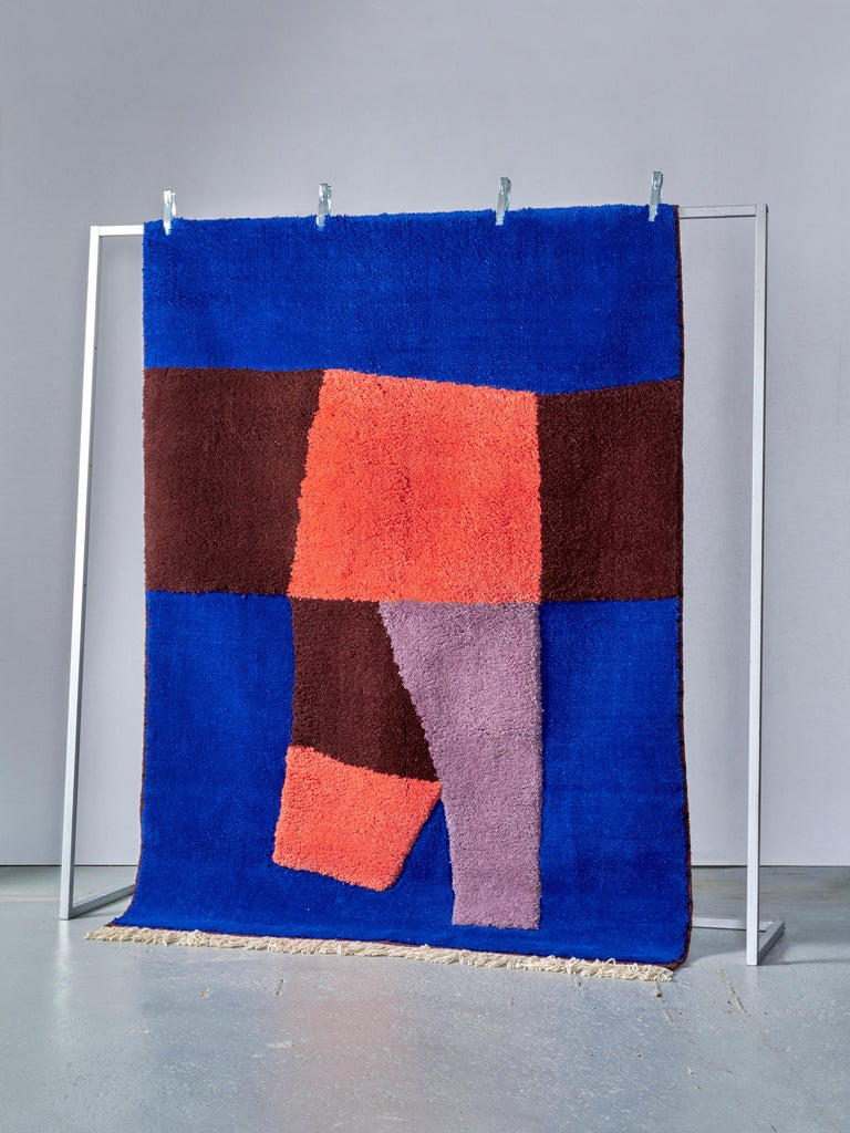 Hand-Knotted Moroccan Hand Knotted Wool Rug by Maria Jeglinska For Sale