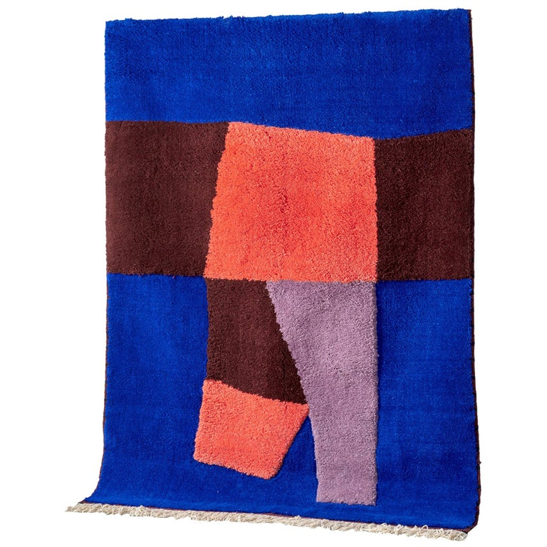 Moroccan Hand Knotted Wool Rug by Maria Jeglinska For Sale