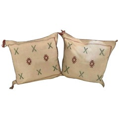 Moroccan Hand-Loomed Wool Off-White Pillows, a Pair