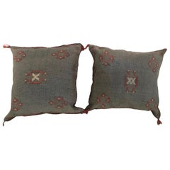 Moroccan Hand-Loomed Wool Pillows in Blue Gray