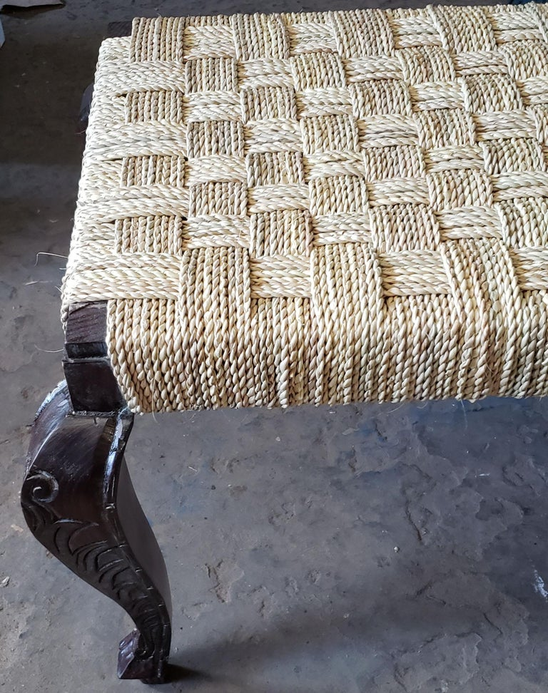 Moroccan Handmade Cedar Wooden Bench Parisian Style For