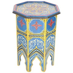Moroccan Hand Painted Blue Side Table