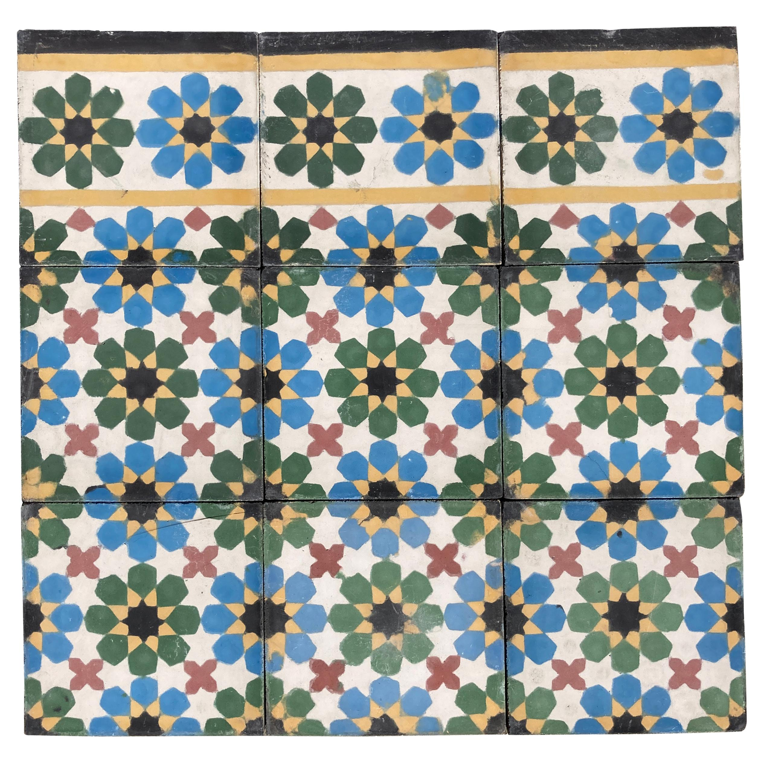 Moroccan Cement Tile with Traditional Fez Moorish Design