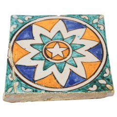 Moroccan Hand Painted Crackle Glazed Ceramic Tile