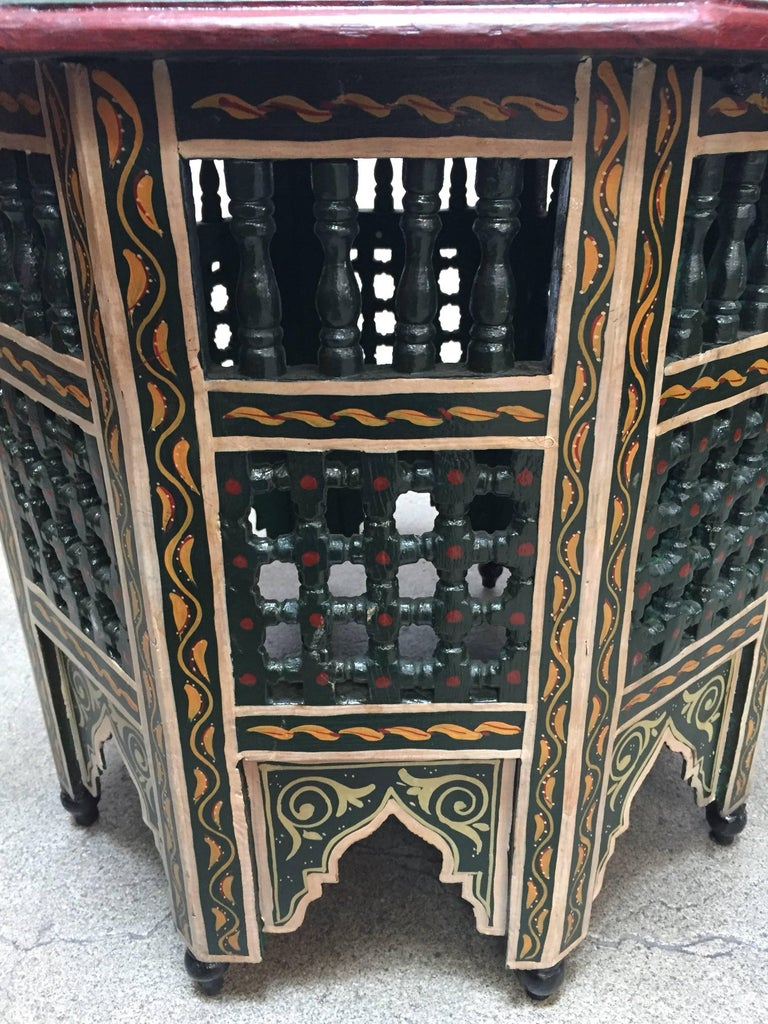 Moroccan Hand-Painted Dark Green Octagonal Side Table 3