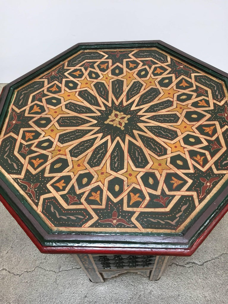 Arts and Crafts Moroccan Hand-Painted Dark Green Octagonal Side Table