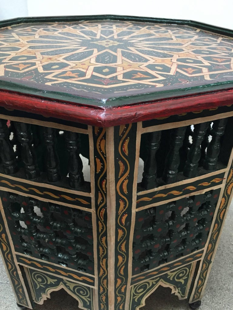 20th Century Moroccan Hand-Painted Dark Green Octagonal Side Table