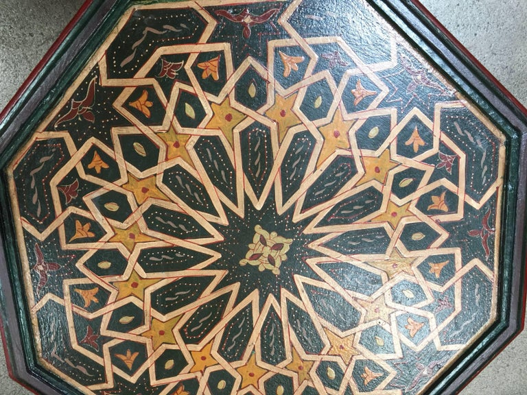 Wood Moroccan Hand-Painted Dark Green Octagonal Side Table