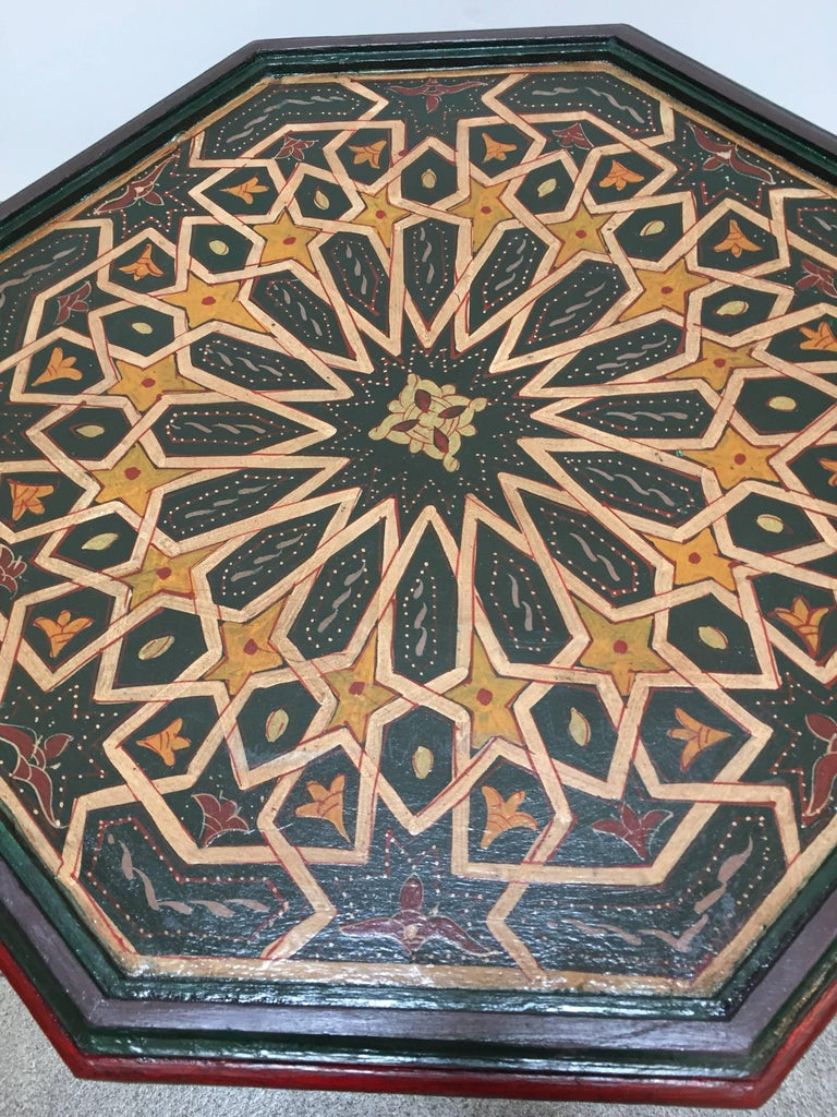 Moroccan Hand-Painted Dark Green Octagonal Side Table 1