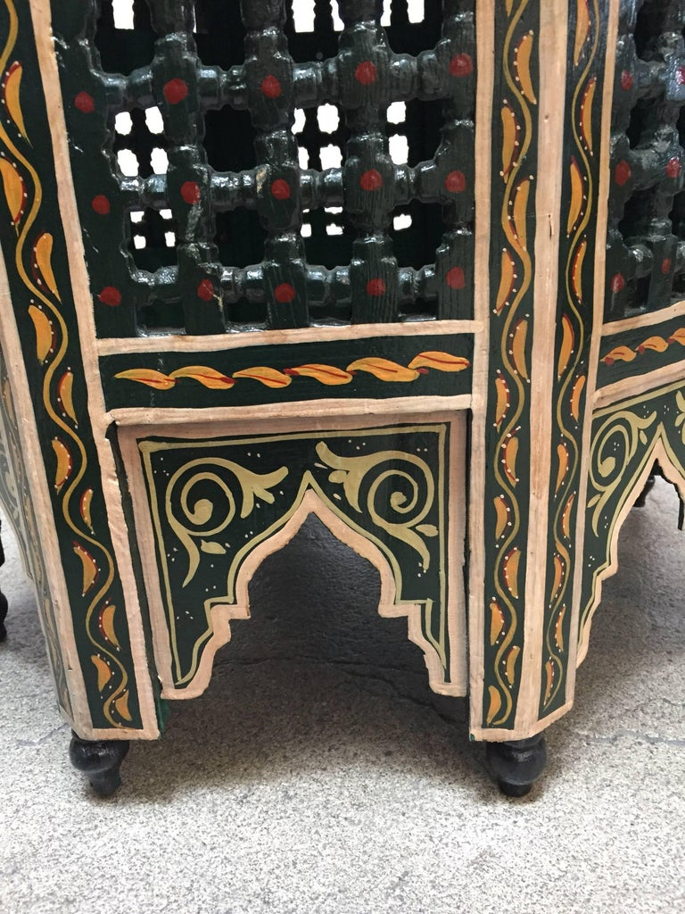 Moroccan Hand-Painted Dark Green Octagonal Side Table 2