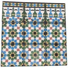 Moroccan Encaustic Cement Tiles with Traditional Fez Moorish Design