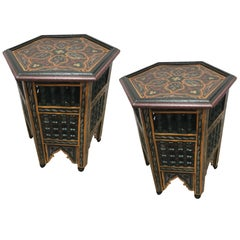 Moroccan Hand-Painted Octagonal Green Side Table with Moorish Designs