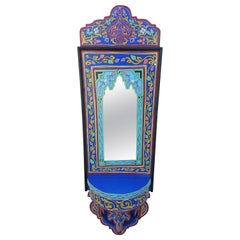 Moroccan Hand Painted Mirror, SP Blue