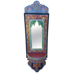 Moroccan Hand Painted Mirror, SP Red