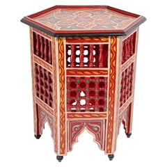 Moroccan Hand Painted Side Table in Red