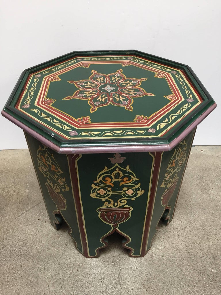 Moroccan Hand Painted Table with Moorish Designs For Sale ...