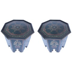 Moroccan Hand-Painted Table with Moorish Designs