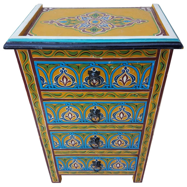 Moroccan Hand Painted Wooden Nightstand 4 At 1stdibs