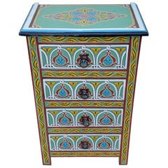 Moroccan Hand Painted Wooden Nightstand, MAR2LM23