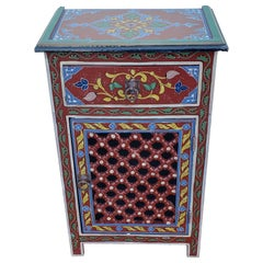 Moroccan Hand Painted Wooden Nightstand, MAR3LM23