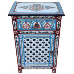 Moroccan Hand Painted Wooden Nightstand, MAR4LM23