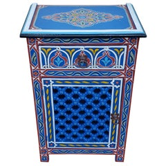 Moroccan Hand Painted Wooden Nightstand, MAR5LM23