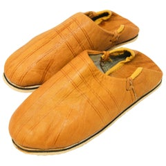 Moroccan Hand Tooled Yellow Leather Slippers Ethnic Shoes
