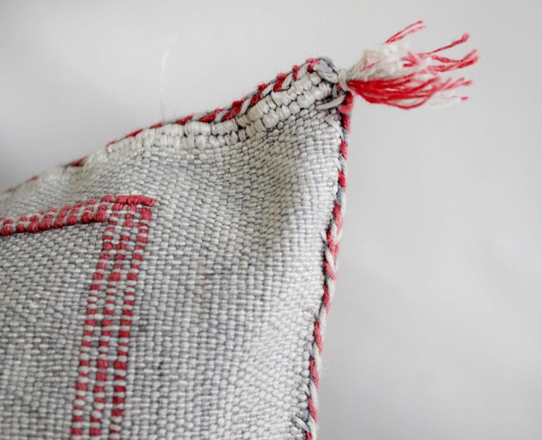 Moroccan Handwoven Cactus Silk Pillow For Sale 1