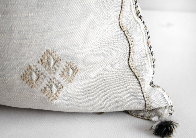 Moroccan Handwoven Cactus Silk Pillow For Sale 1
