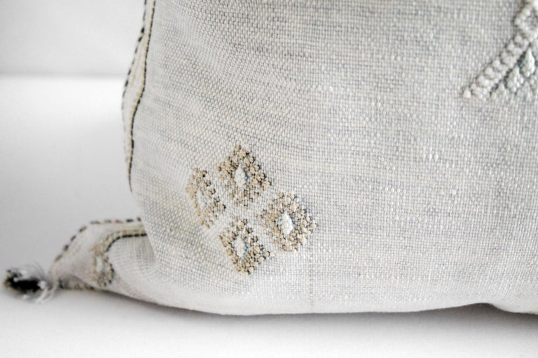 Moroccan Handwoven Cactus Silk Pillow For Sale 2