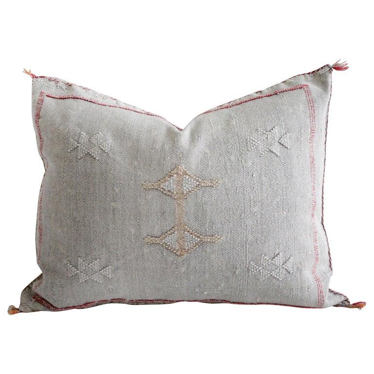 Moroccan Handwoven Cactus Silk Pillow For Sale