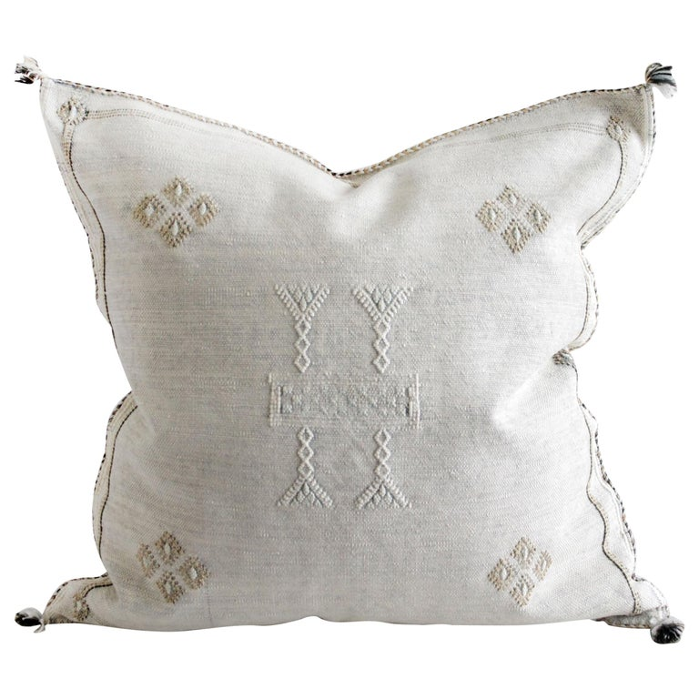 Moroccan Handwoven Cactus Silk Pillow For Sale