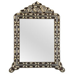Moroccan Handcrafted Bone and Silver Arched Moorish Mirror