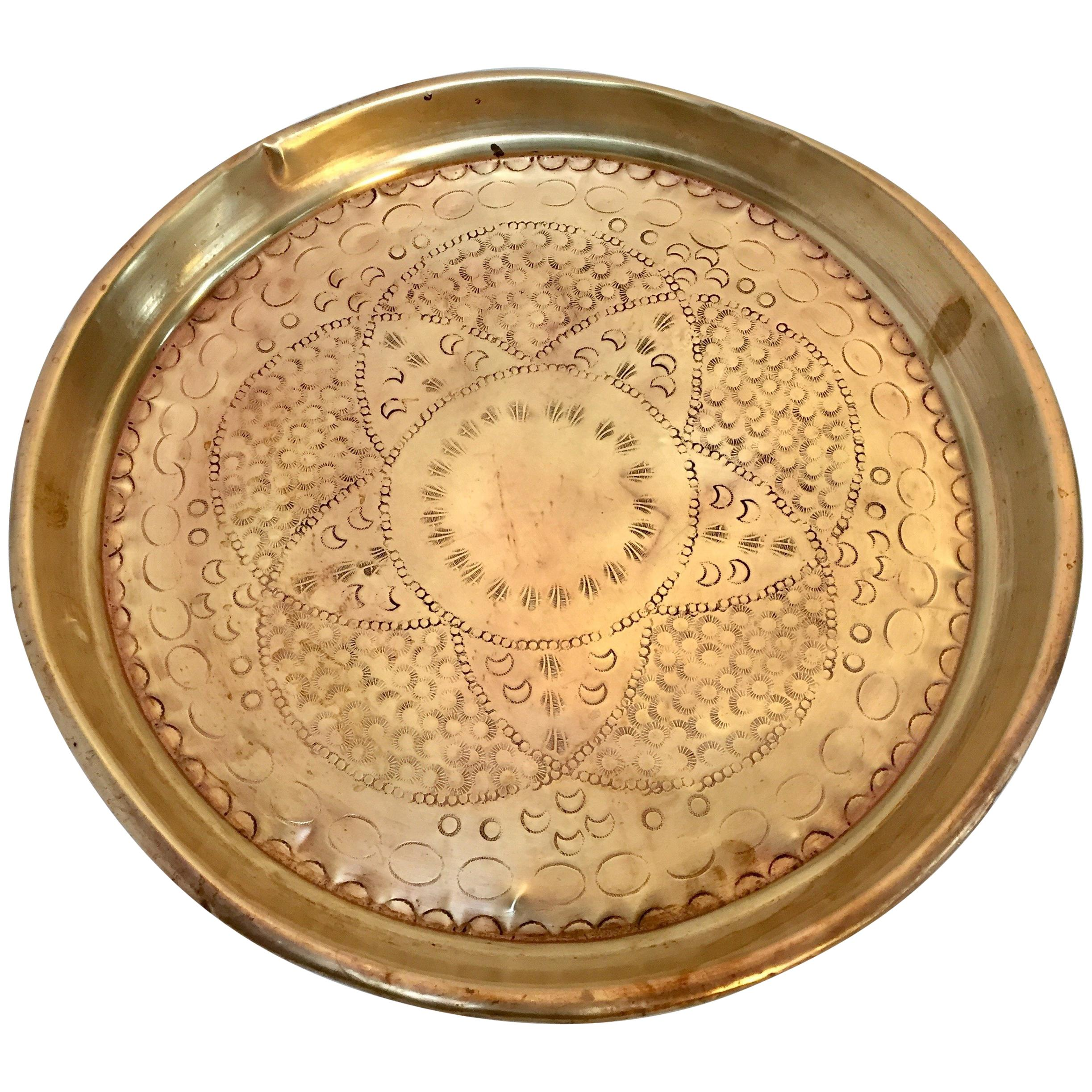 68449e70b729 Moroccan Handcrafted Brass Round Tray For Sale at 1stdibs