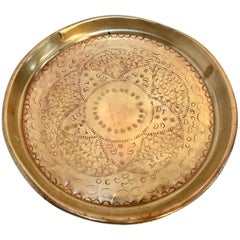 Moroccan Handcrafted Brass Round Tray