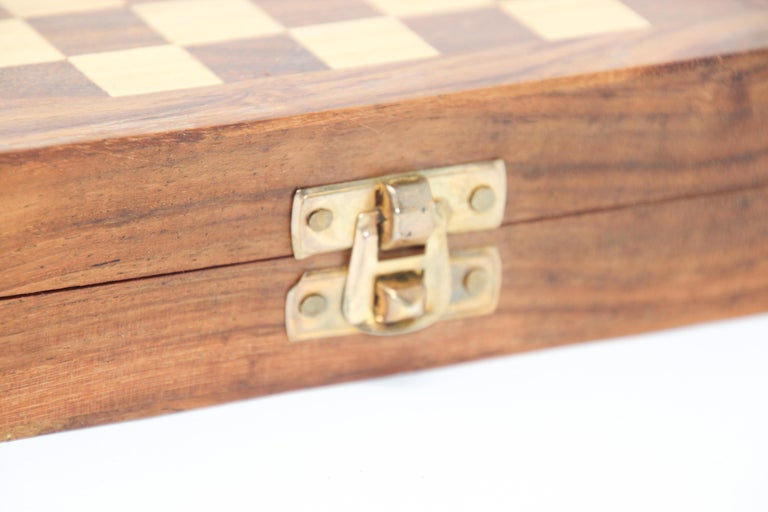 Decorative Moroccan chess handcrafted thuya wood box. Moroccan artists continue the long tradition that creating beautiful and functional pieces from roots and branches of the rare Thuya tree. This wood can be found only in Atlas mountains in