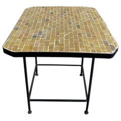 Moroccan Handcrafted Green Mosaic Midcentury Coffee Medium Low Side Table