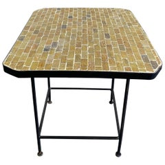 Moroccan Handcrafted Green Mosaic Midcentury Coffee Side Table