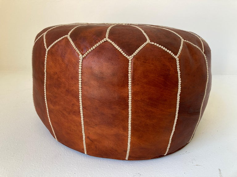 Moroccan Handcrafted Leather Brown Ottoman For Sale 6