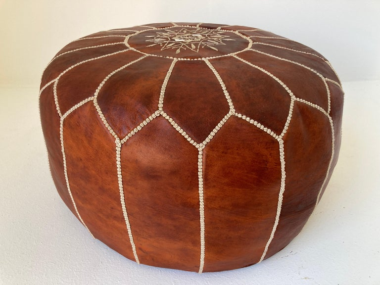 Moroccan Handcrafted Leather Brown Ottoman For Sale 7