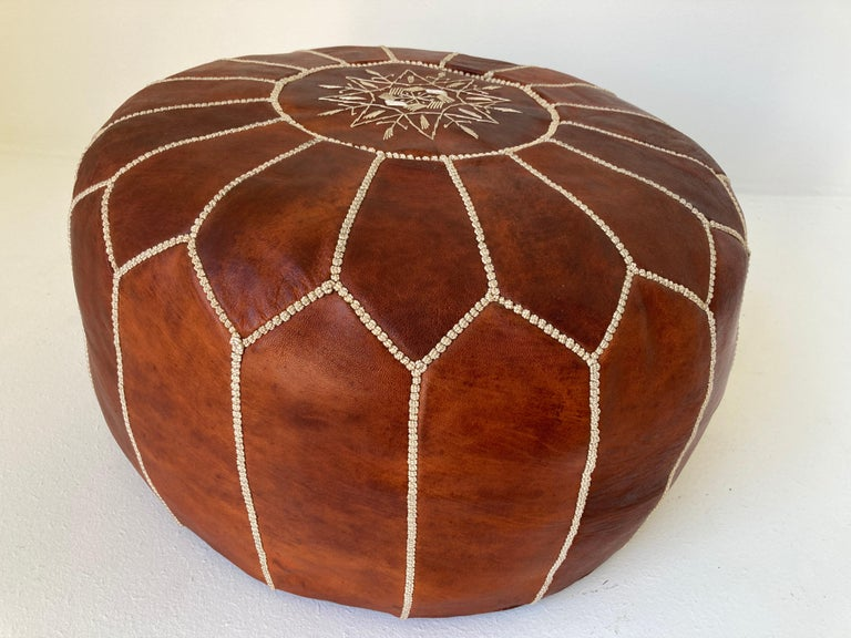Bohemian Moroccan Handcrafted Leather Brown Ottoman For Sale