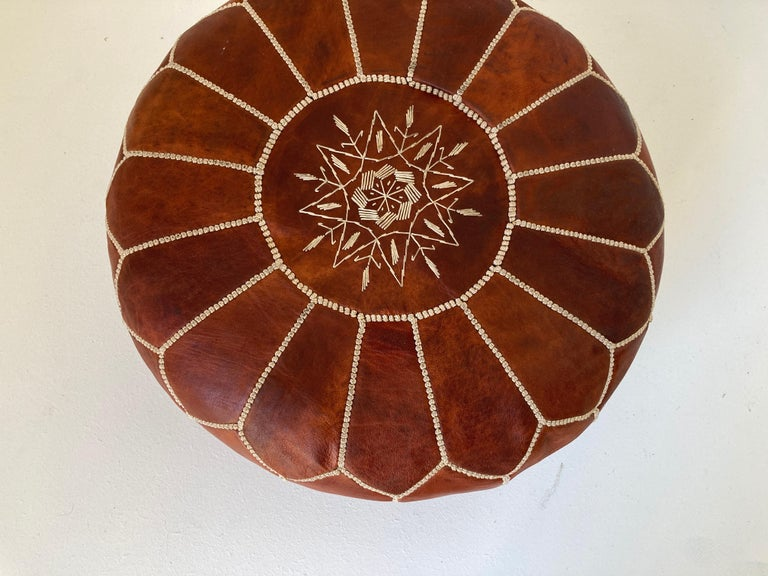 Hand-Crafted Moroccan Handcrafted Leather Brown Ottoman For Sale