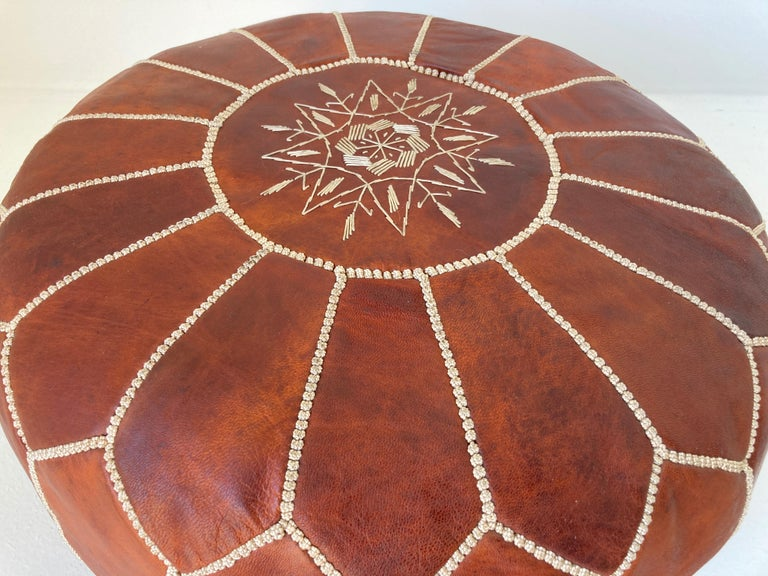Moroccan Handcrafted Leather Brown Ottoman For Sale 1