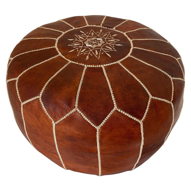 Moroccan Handcrafted Leather Brown Ottoman For Sale