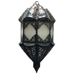 Moroccan Handcrafted Moorish Pendant Frosted Glass Lantern