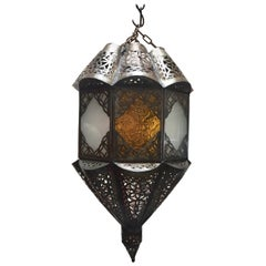Moroccan Handcrafted Moorish Pendant Glass Lantern