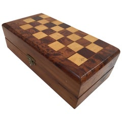 Moroccan Handcrafted Thuya Wood Box with Backgammon and Chess Set Game