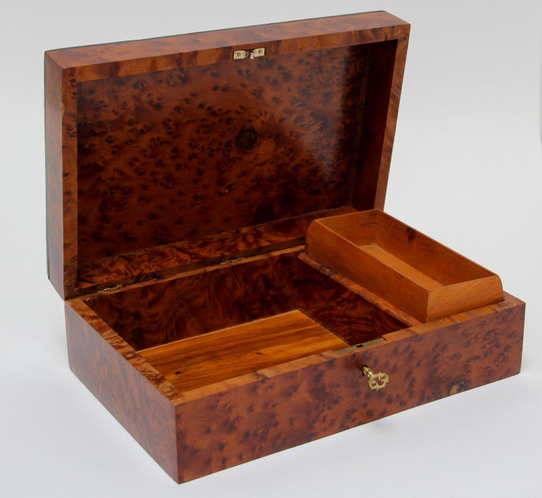 Moroccan Handcrafted Thuya Wood Jewelry Box For Sale 3