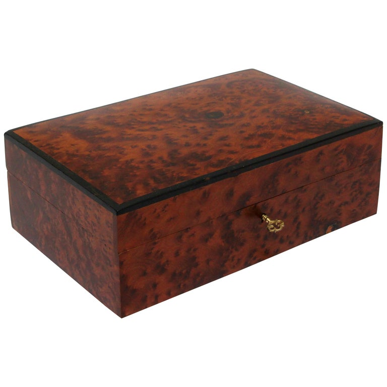 Moroccan Handcrafted Thuya Wood Jewelry Box For Sale